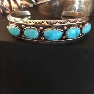Jewelry - Vintage SS/sleeping beauty turquoise/Navajo cuff